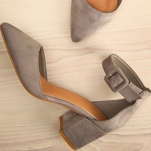 NEW, never worn grey kitten heel (size 7)